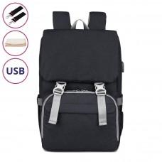 Рюкзак Для Мам Evo Черный с пеленатором и USB, 19 л