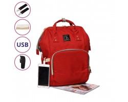 Сумка-Рюкзак Для Мам c USB Urban Красная, 18 л