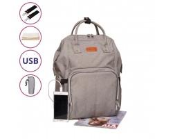 Сумка-Рюкзак Для Мам c USB Vojage Серая, 24 л