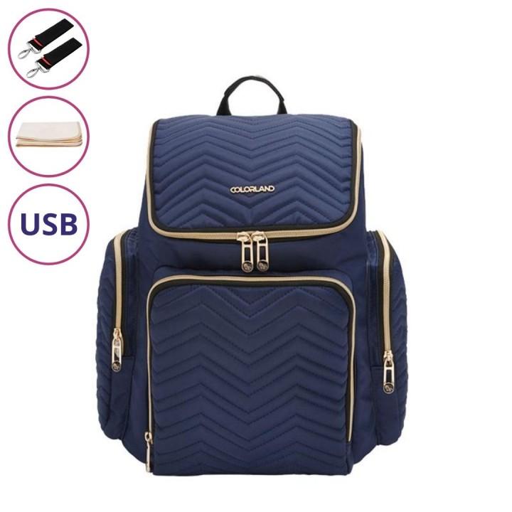 Рюкзак Для Мам с USB Colorland Georgia Синий