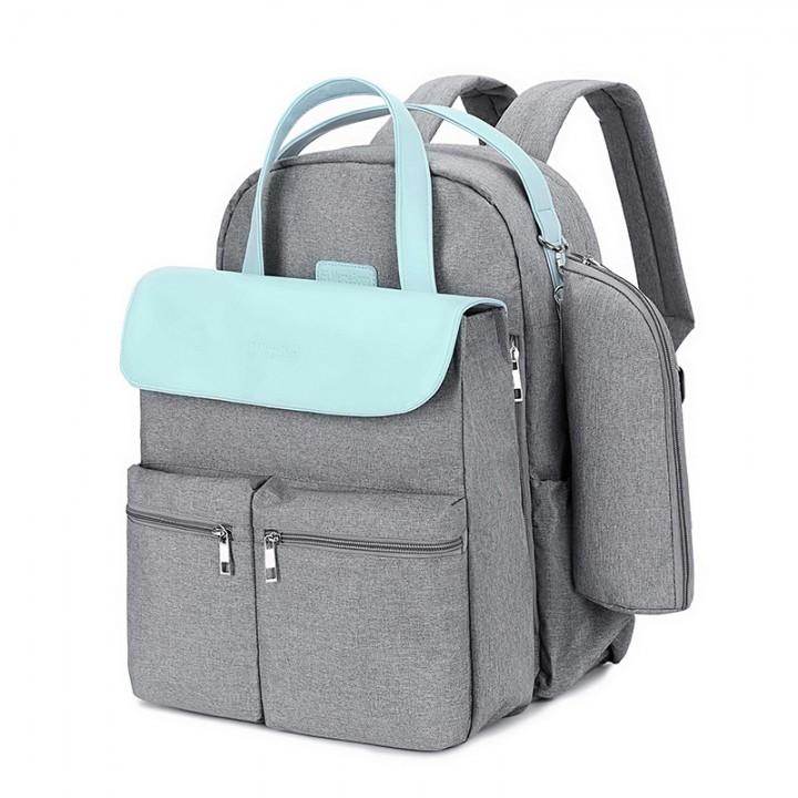 Сумка + Рюкзак Для Мам MergeBoon Серая с голубым
