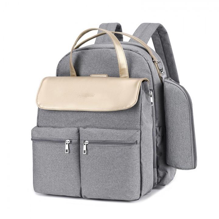 Сумка + Рюкзак Для Мам MergeBoon Серая с золотым